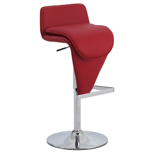 Adjustment Height Stool Low Back Red Seat Chrome Dcg