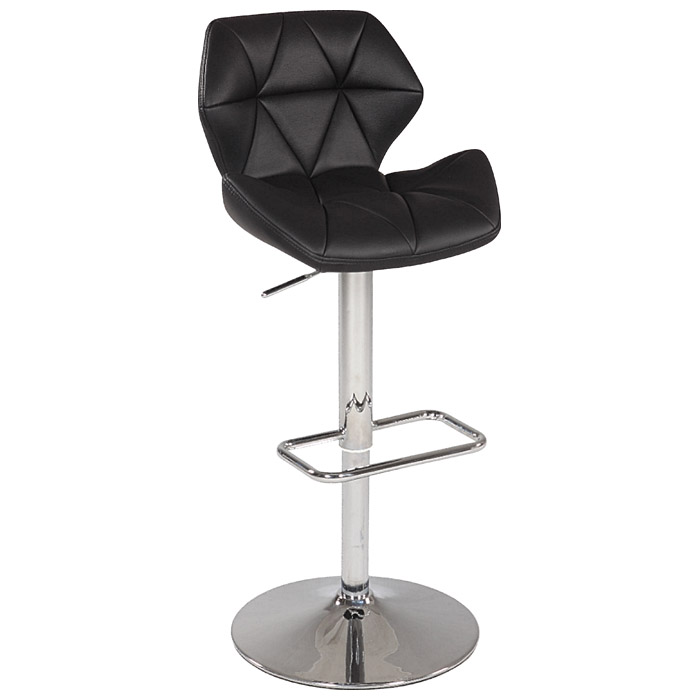 Mercedes Swivel Stool - Adjustable Height, Diamond Tufted, Black - CI-0645-AS-BLK