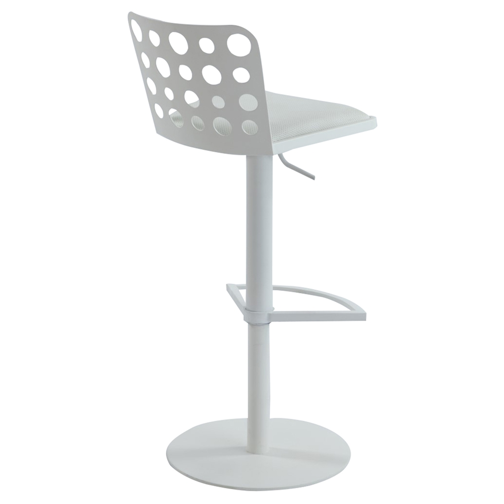 Swivel Stool White Brushed Stainless Steel Base Cut