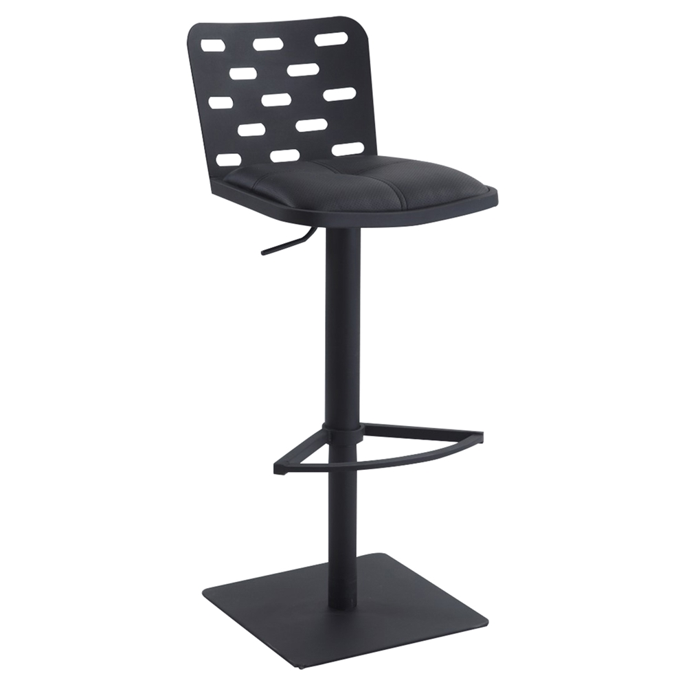 Swivel Bar Stool Adjustable Black Seat Brushed