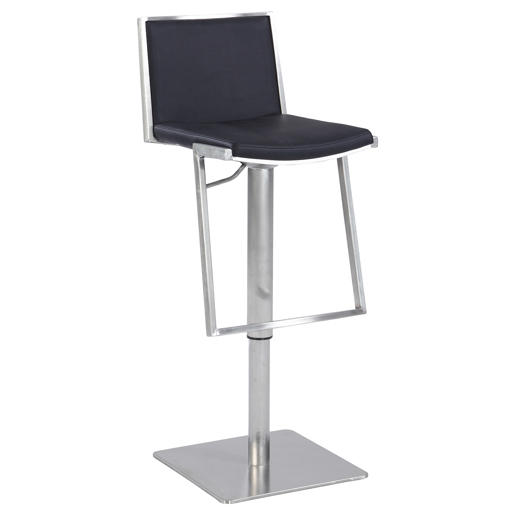 Pneumatic Stool Black Leatherette Brushed Stainless  : 0894 as blk from www.dcgstores.com size 1000 x 1000 jpeg 143kB