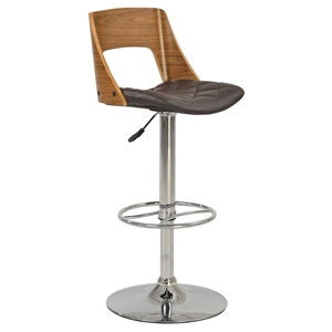 Swivel Stool - Open Back, Brown Seat, Chrome and Walnut Frame