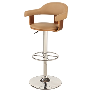 Pneumatic Swivel Stool - Khaki Seat, Chrome and Walnut Frame