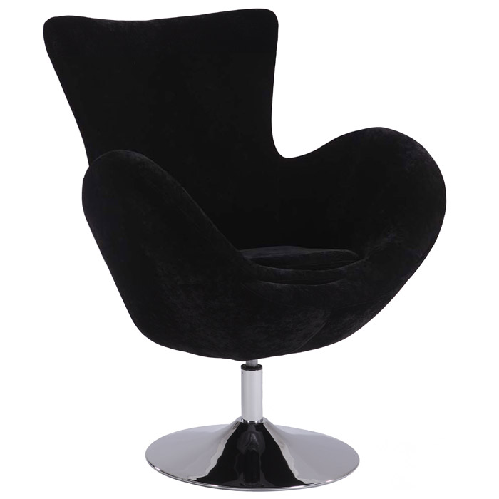 Meissa Modern Swivel Accent Chair   Chrome Base, Black Velvet