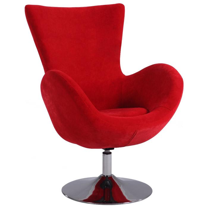 Meissa Modern Swivel Accent Chair Chrome Base Red
