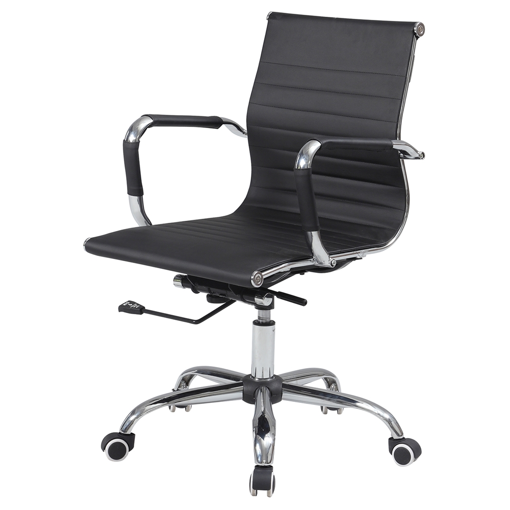 Office Chair Adjustable Height Faux Leather Black