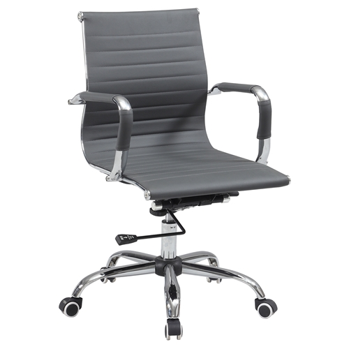 office chair adjustable height faux leather gray dcg