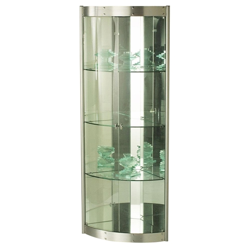 Corner Curio With Mirror Interior Silver Dcg Stores