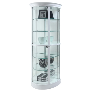 Half Round Curio - 6 Shelves, Mirror Back, Gloss White