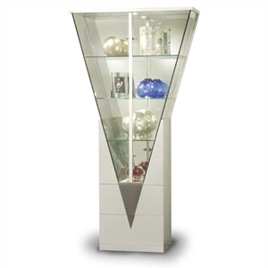 Eurydice V-Shaped Curio with Mirrored Interior