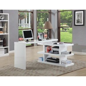 Office Desk - Shelves, White