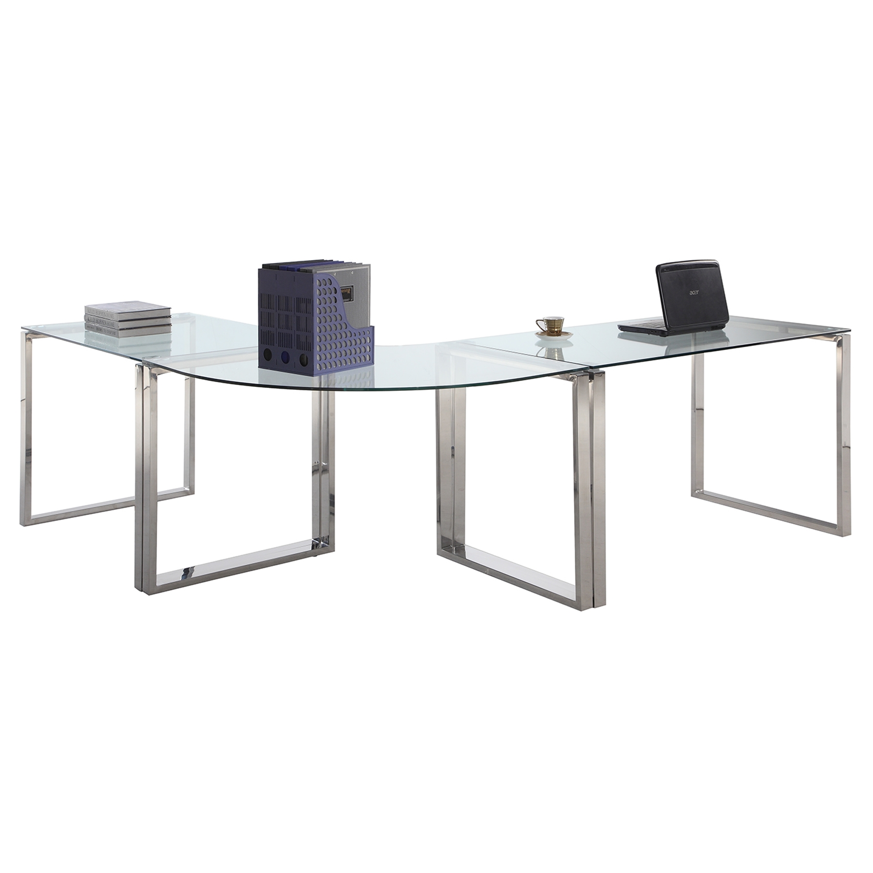 - 3 Pieces Computer Desk - Glass Top, Stainless Steel Base DCG Stores