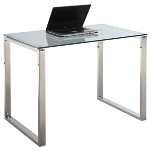 Small Computer Desk - Glass Top, Stainless Steel Base