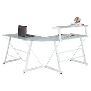 L Shape Office Desk - Upper Shelf, White