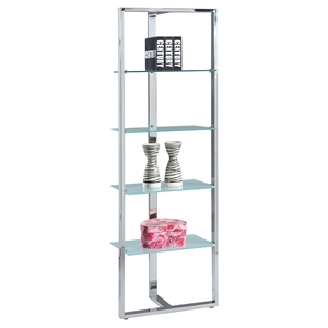 Metal Bookshelf - 4 Shelves, Glass Shelves, Stainless Steel