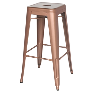Galvanized Steel Bar Stool - New Copper, Backless (Set of 4)