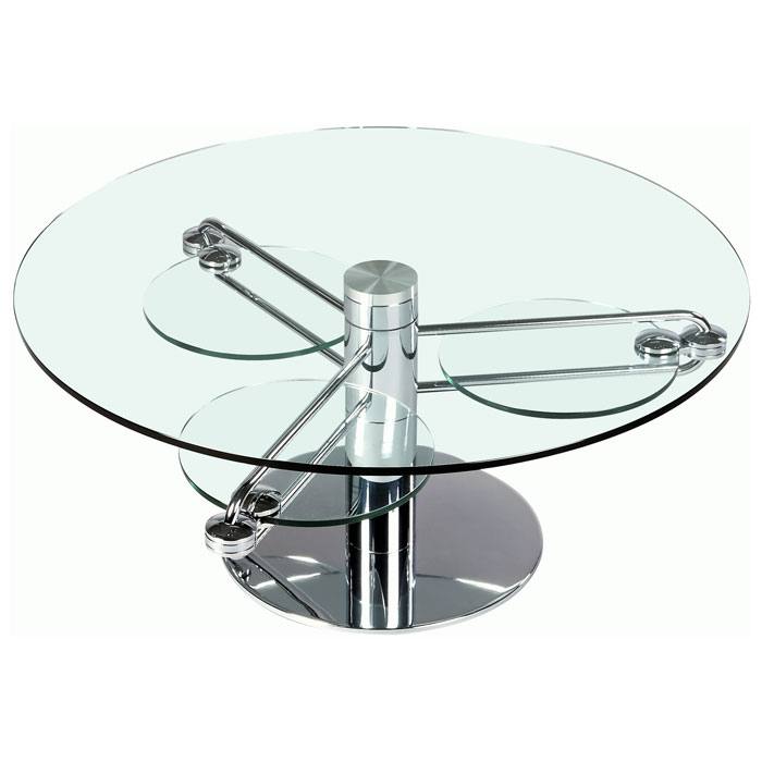 Minerva round cocktail table with retractable arms dcg for Table bar retractable