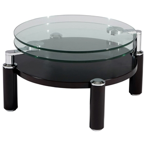 Circe Motion Cocktail Table - Glass Tops, Wood Base