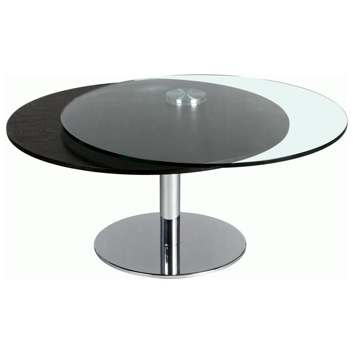 Scylla Round Cocktail Table With Motion Glass Top Dcg Stores