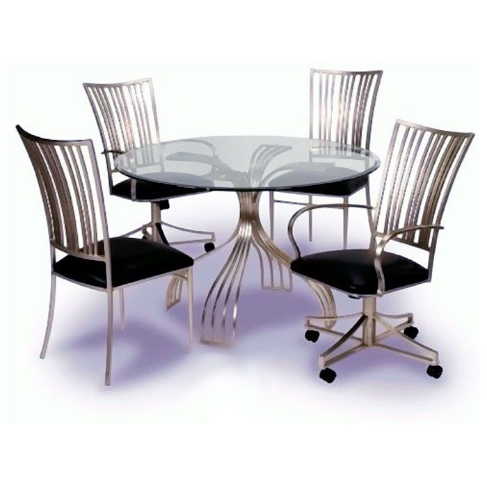 Ashtyn Round Beveled Glass with Swivel Arm Chairs - CI-ASHTYN-DT-5-PC-SWIVEL-SET