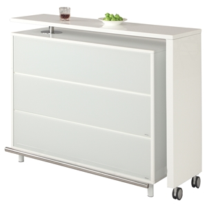 Barclay Bar Table - Extendable, 6 Shelves, White