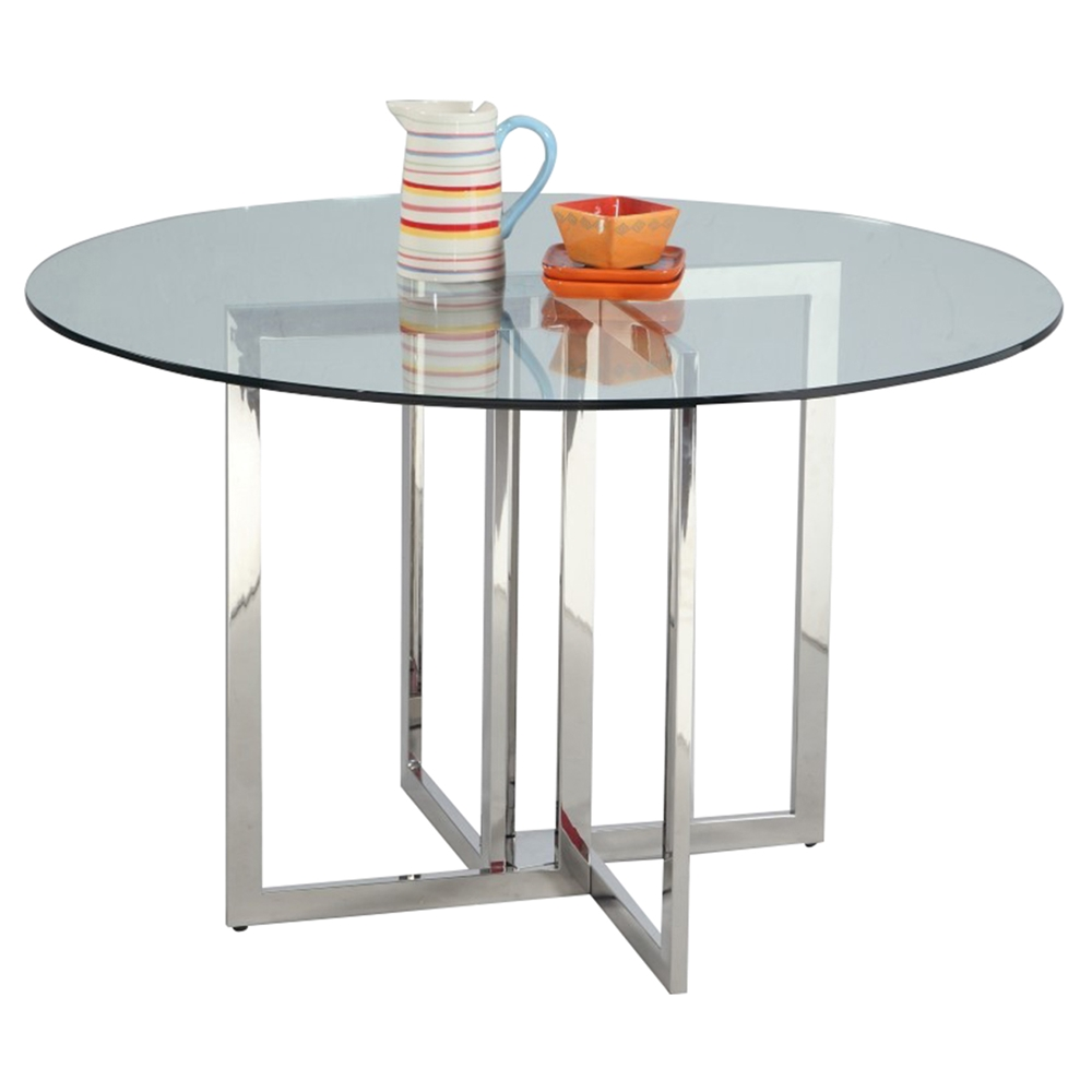 Blair 48 Quot Round Dining Table Clear Top Shiny Stainless