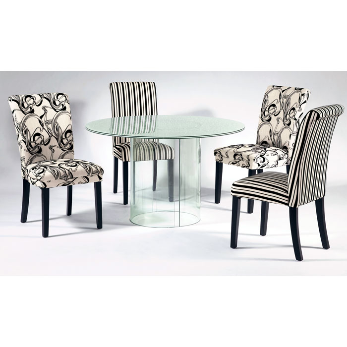 Misty Side Chair - Black & White Abstract Upholstery - CI-MISTY-PRS-SC