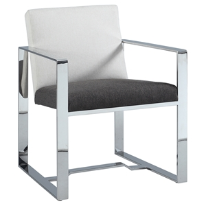 Candice Oversized Arm Chair - Gray and Brown, Polished Stainless Steel