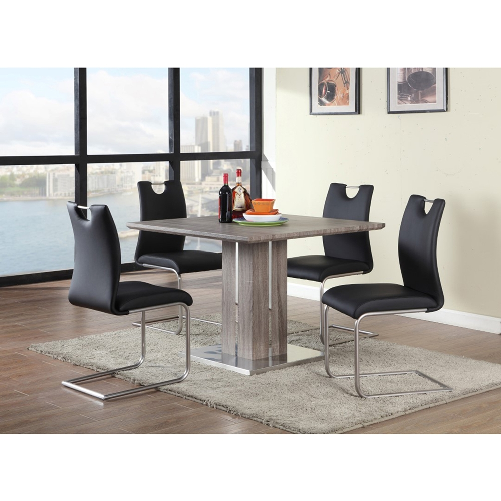 Cantilever Side Chair Black Brushed Nickel Set Of 4
