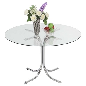 Cece Dining Table - Chrome, Clear