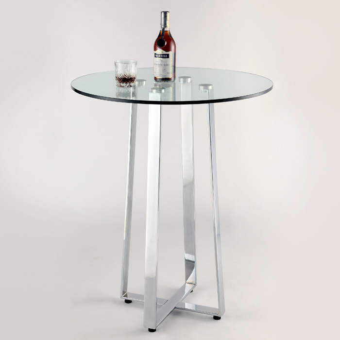 Chambers Contemporary Pub Table   Clear Glass, Chrome   CI CHAMBERS CNT ...