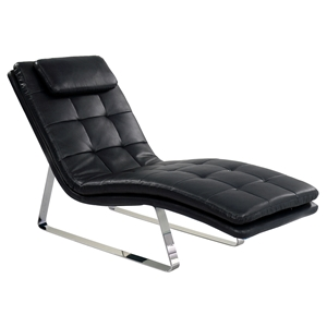 Corvette Chaise Lounge - Bonded Leather, Black
