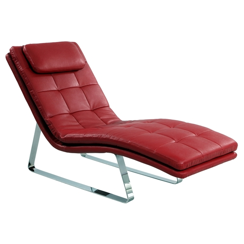 Corvette chaise lounge bonded leather red dcg stores for Bonded leather chaise