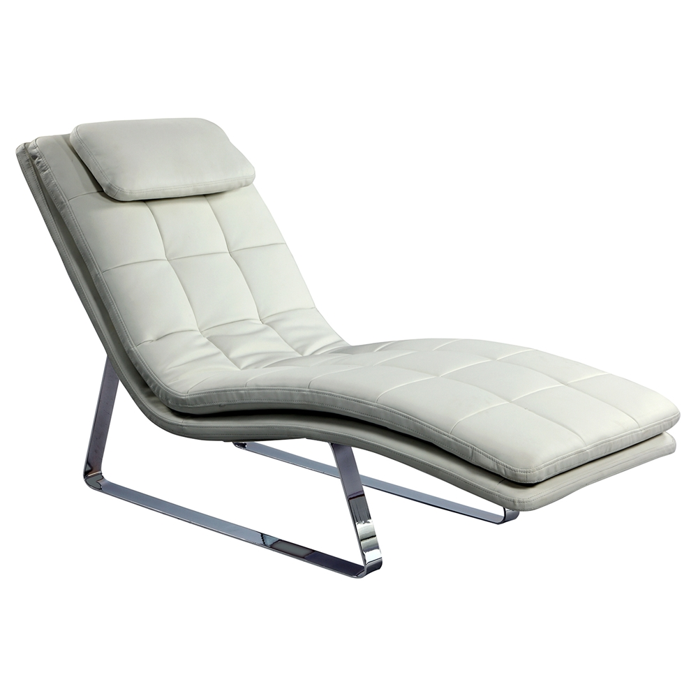 Corvette chaise lounge bonded leather white dcg stores for Bonded leather chaise