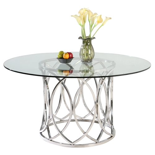 Courtney Round Dining Table Clear Top Shiny Stainless