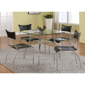 Daisy 5 Pieces Dining Set - Black and Clear