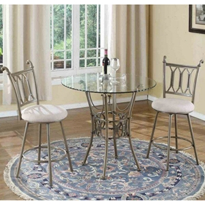 Darcy 3 Pieces Counter Table Set - Glass Top, Beige Seat and Bronze Frame