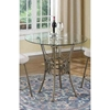 Darcy 3 Pieces Counter Table Set - Glass Top, Beige Seat and Bronze Frame - CI-DARCY-3PC