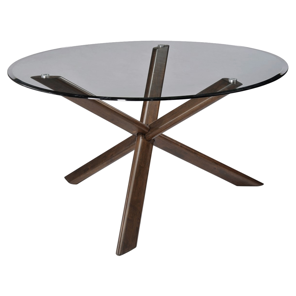 Davis Round Dining Table Clear Glass Top Walnut Base