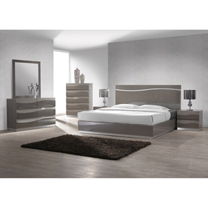 Delhi 4 Pieces Bedroom Set - High Gloss Gray