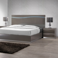 Delhi 4 Piece Bedroom Set - Glossy Gray, Panel Bed