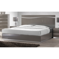 Delhi Low Profile Bed - Glossy Gray, Panel Headboard