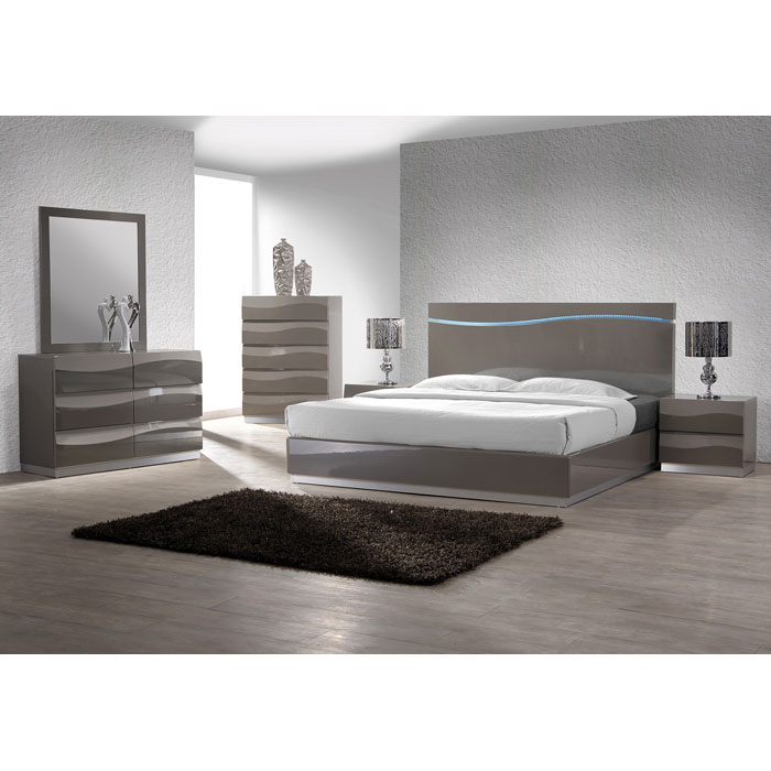Delhi Contemporary Nightstand - Glossy Gray, 2 Drawers - CI-DELHI-NS