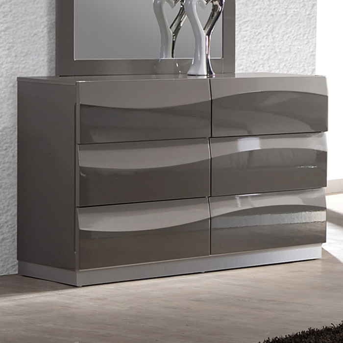Delhi Contemporary Dresser Glossy Gray 6 Drawers Dcg