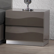 Delhi Contemporary Nightstand - Glossy Gray, 2 Drawers