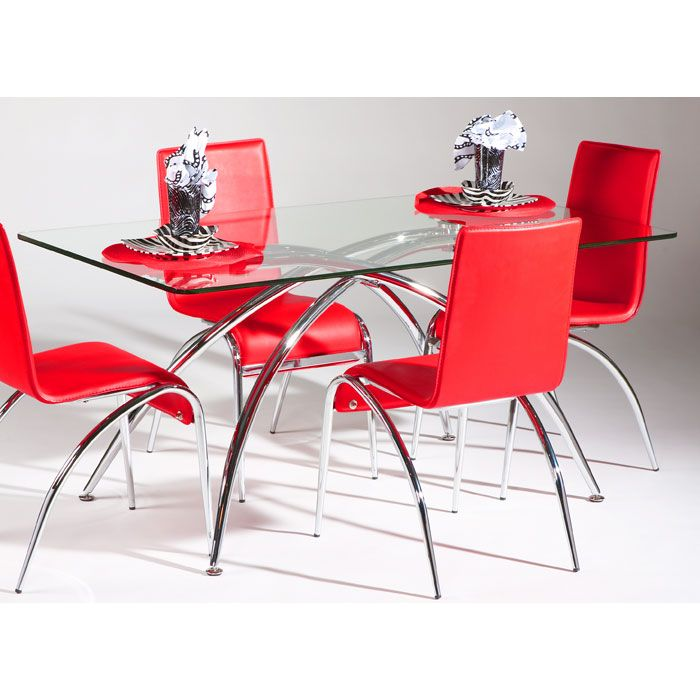 Elaine 5 Piece Contemporary Dining Set in Red - CI-ELAINE-DT-5-PC-X-SET