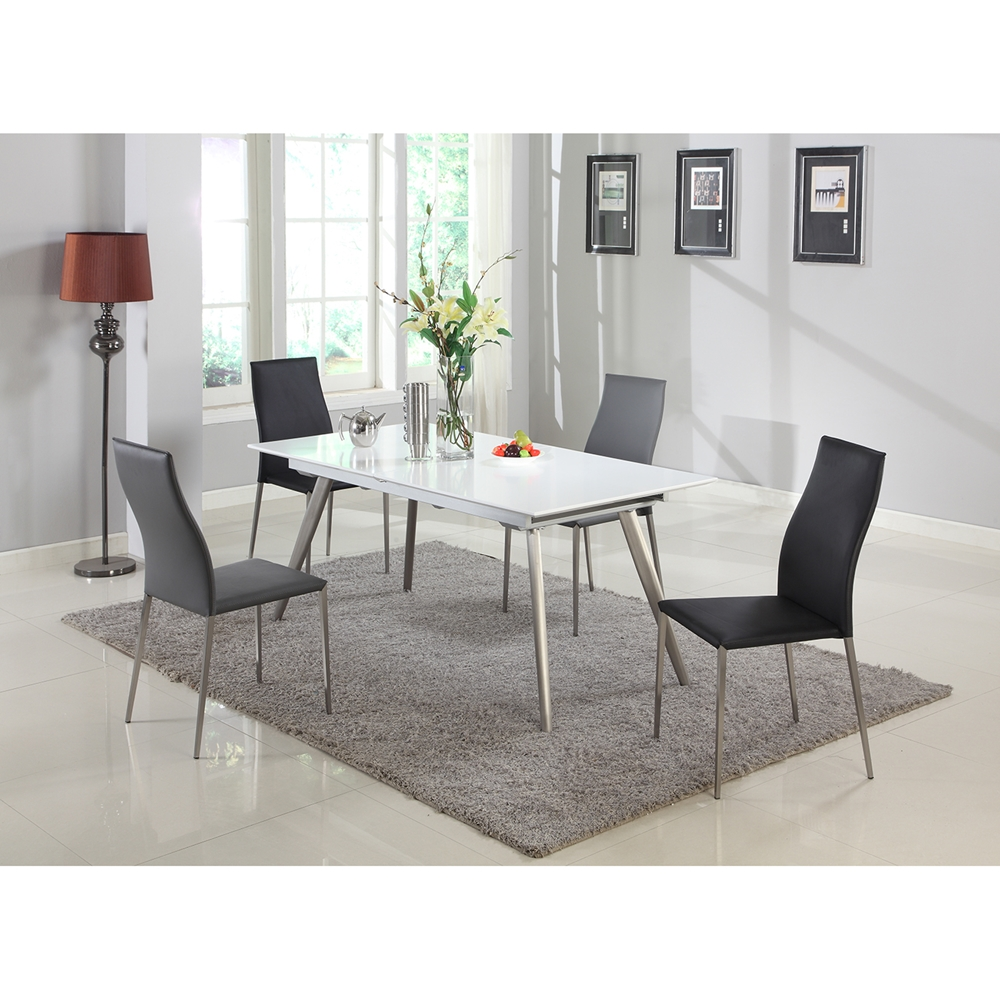Elsa pieces dining set gray and black dcg stores