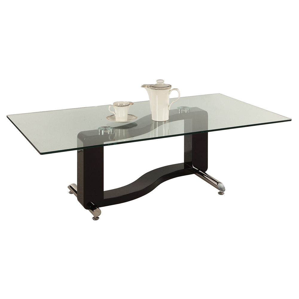 Rectangular Coffee Table With Glass Top And Curved Chrome: Fenya Rectangular Cocktail Table