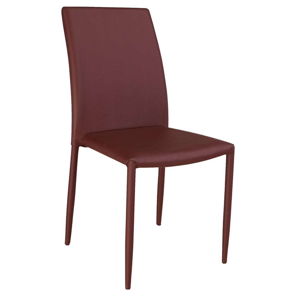 Fiona Stackable Side Chair Burgundy Faux Leather Set Of