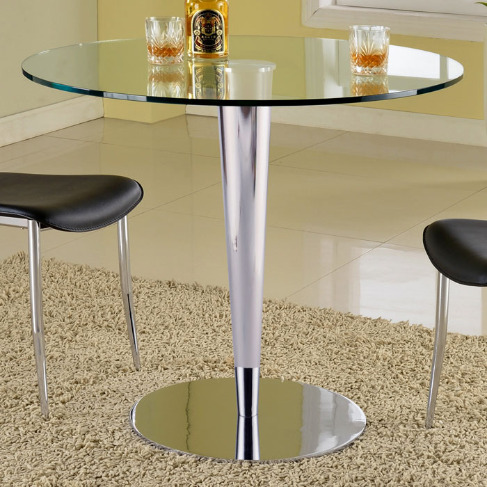 Grand contemporary dining table round glass top chrome for Round glass and chrome dining table